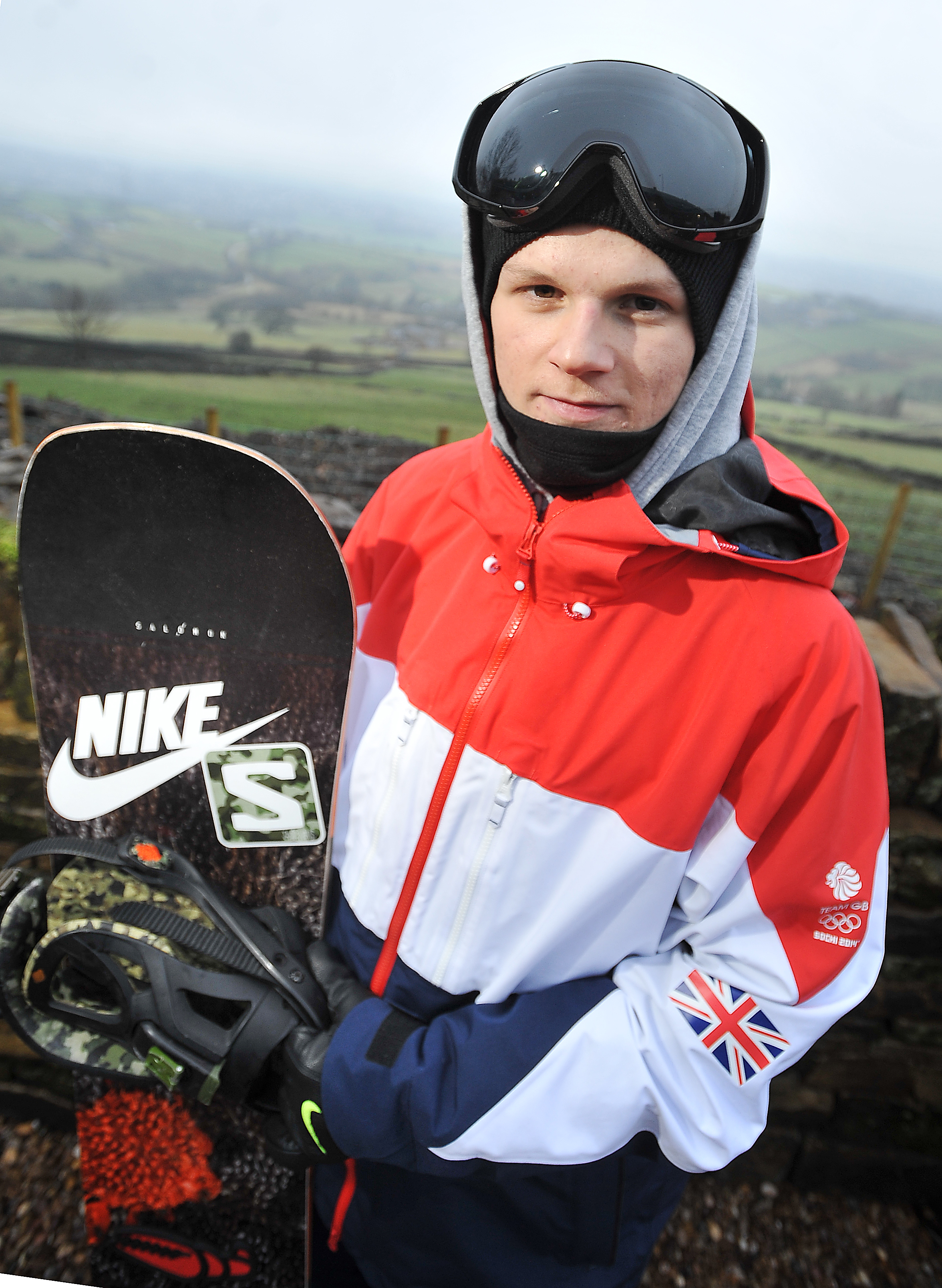 Jamie Nicholls poses for our T&A snapper in full GB kit outside his Queensbury home as he prepares to jet off to Russia