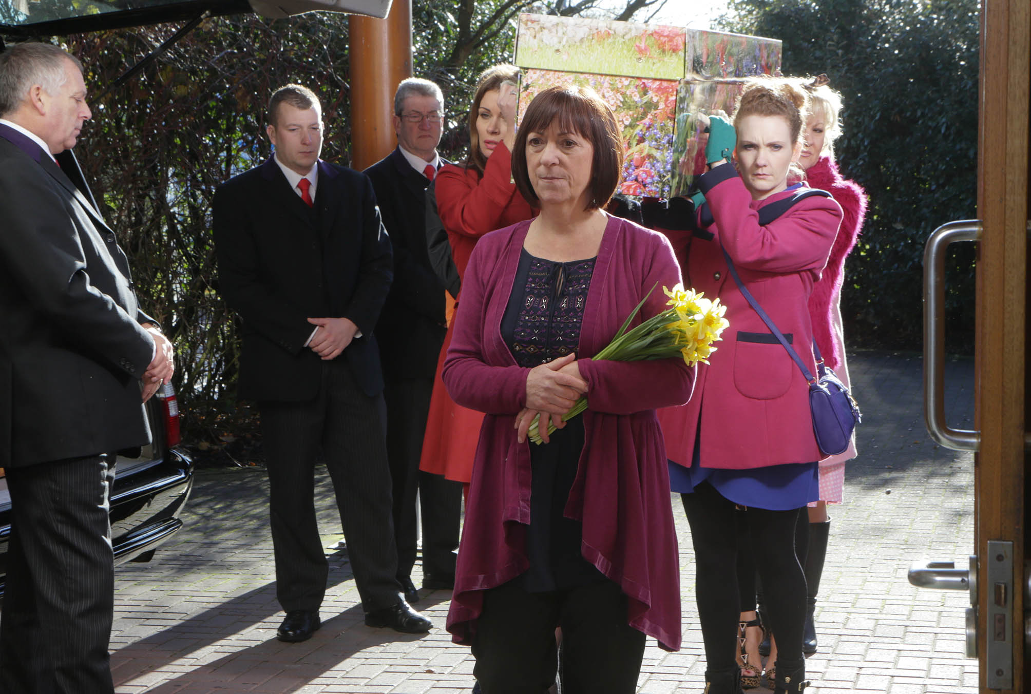 Hayley Cropper's Funeral on Coronation Street. Image from The Telegraph and Argus