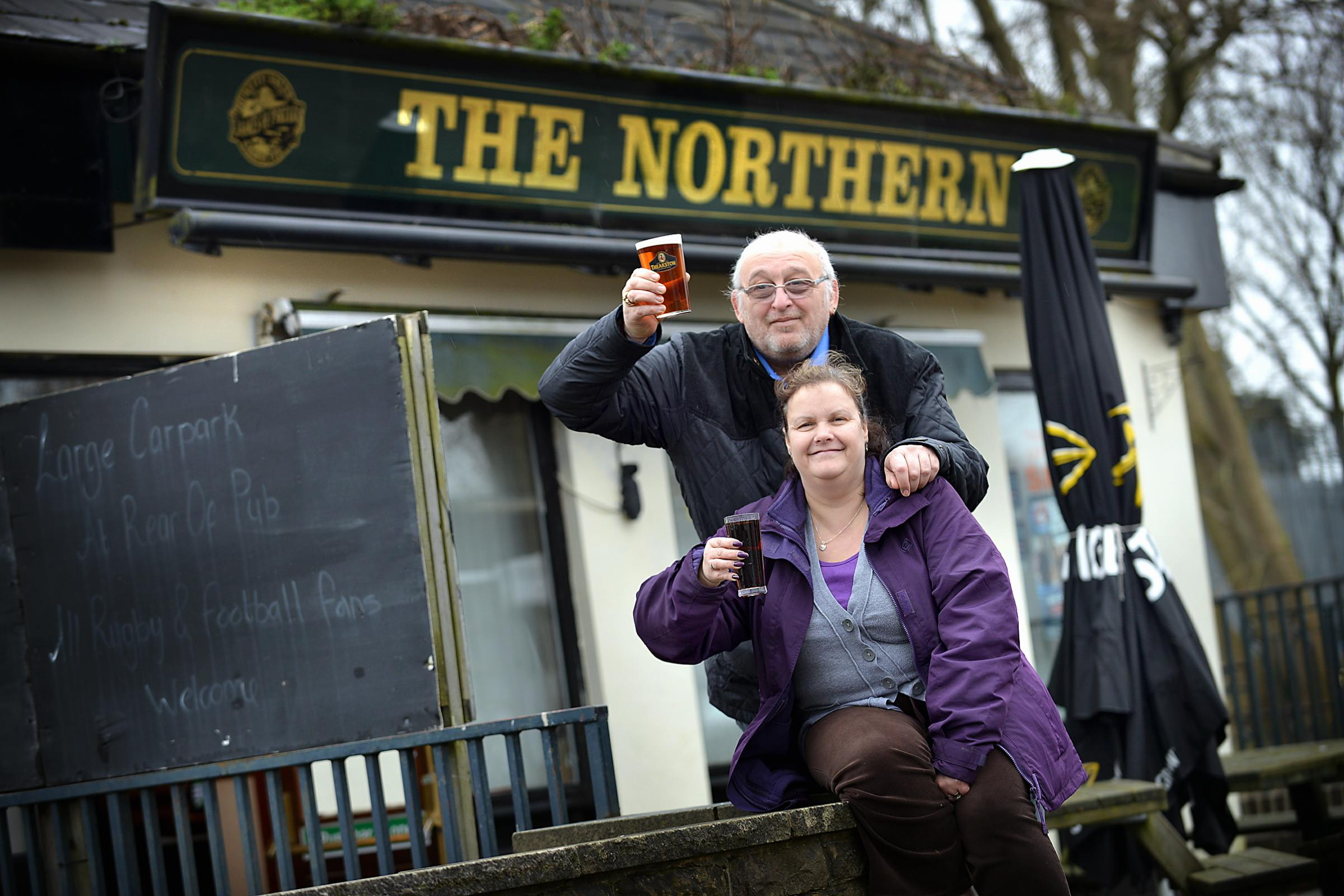 Landlady Frances Spencer and her husband Lloyd outside The Northern pub on Halifax Roa