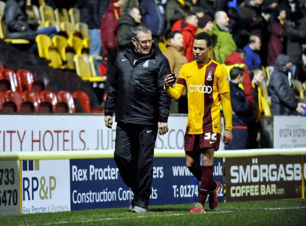 Bradford Telegraph and Argus: Kyle Bennett leaves the field after his red card against Preston