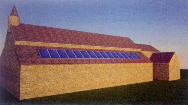 An artist's impression of the solar panels on St Matthew's Church