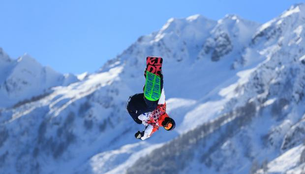 Jamie Nicholls' Team GB colleague Billy Morgan during today's slopestyle practice