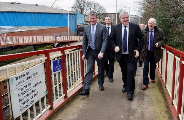 Secretary of State Patrick McLoughlin MP visits Pudsey to see the station with MP Stuart Andrew