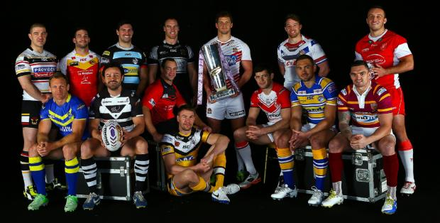 LET BATTLE COMMENCE: The 14 Super League captains – including Bulls skipper Matt Diskin, far left – at yesterday's Super League launch in Manchester
