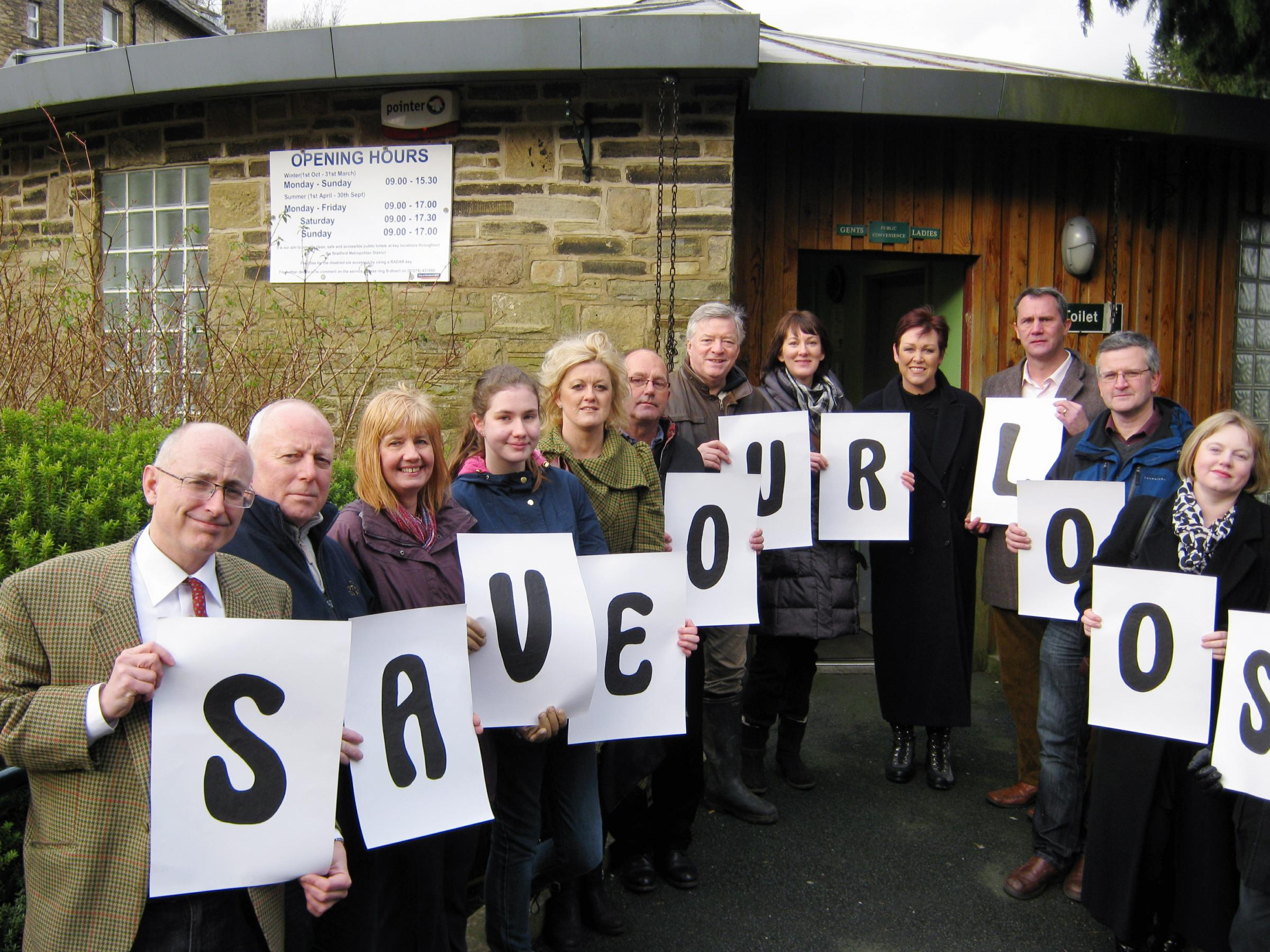 Christa Ackroyd with save the toilet campaigners in Haworth