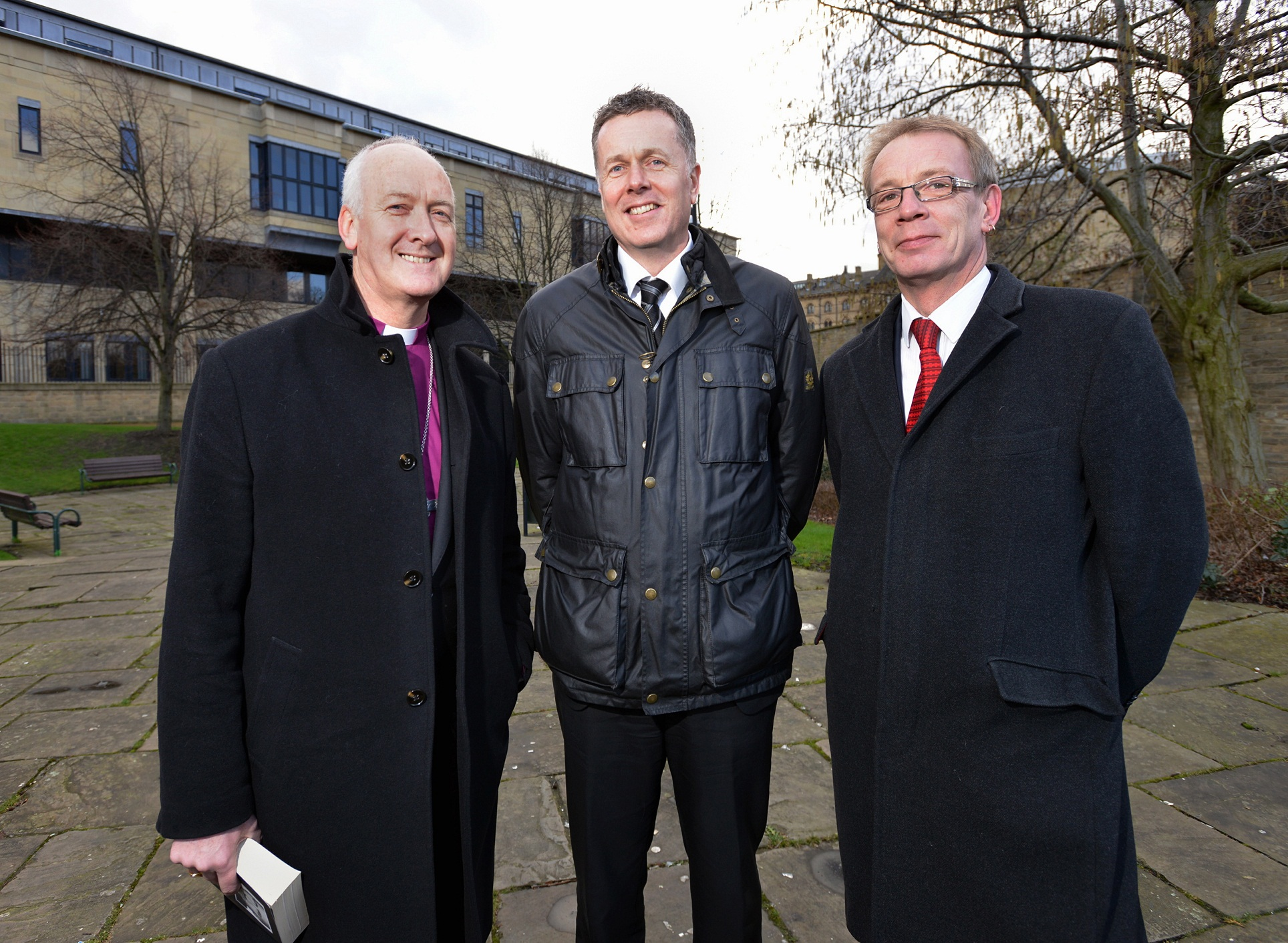 Right Reverend Nick Baines (left) with Tony Reeves, the chief executive of Bradford Council (centre) , and Councillor Dave Green, the leader of the Council