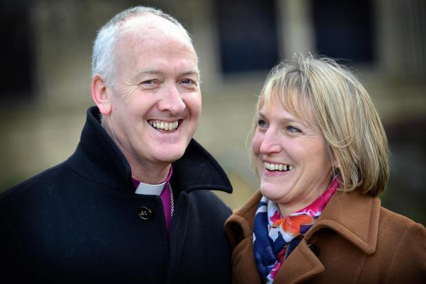 The Rt Rev Nick Baines with his wife Linda at yesterday's announcement