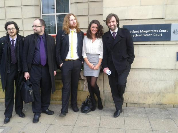 The cleared protesters, from left, Christopher Wood, Symon Hill, Daniel Woodhouse, Chloe Skinner and James Clayton