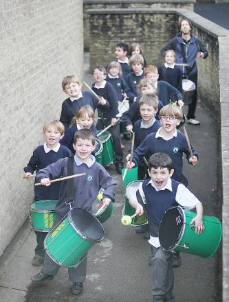 Youngsters at Cowling Primary School hit the beat
