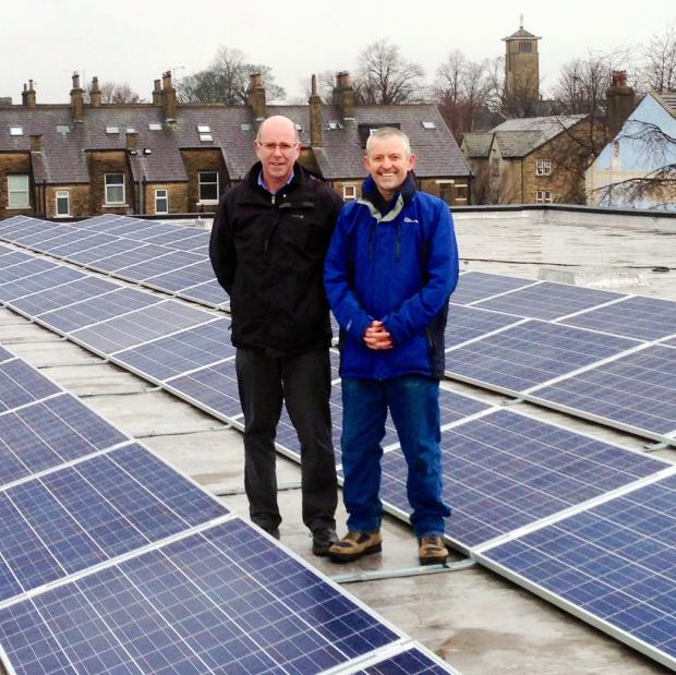 Councillors Martin Love and Kevin Warnes on the roof of Shipley Pool