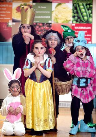 JOY: From left, Woodland Bunny Safa Imaan, Wicked Queen and Stepmother Arzoo Karim, Old Woman Adela Bleda, Snow White Kelsy Cariss, Dwarf Doc Maariyah Bibi and Sneezy Ammarah Mohammed