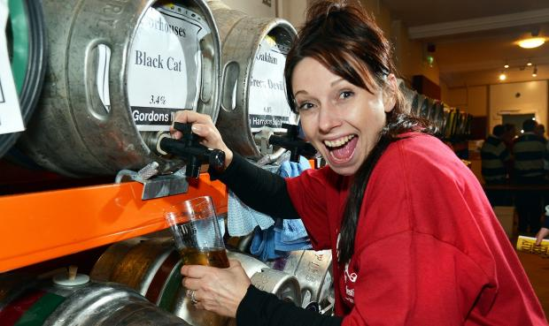 Sarah-Jane Peters, of Guiseley, helps out at Ilkley Beer Festival