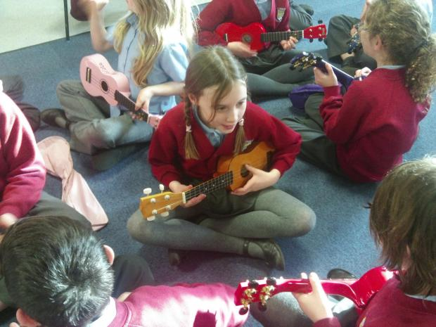 St Oswald's Primary School pupils enjoy a ukulele workshop