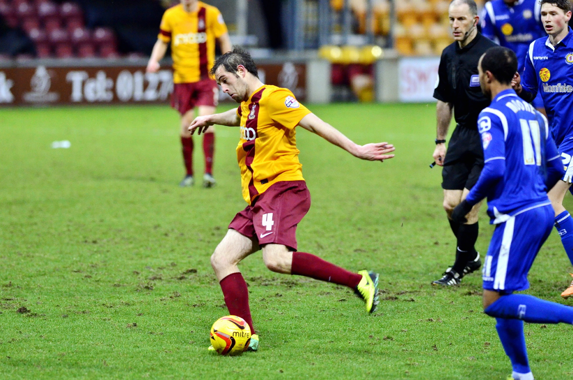 Matty Dolan in action on his City debut against Crewe