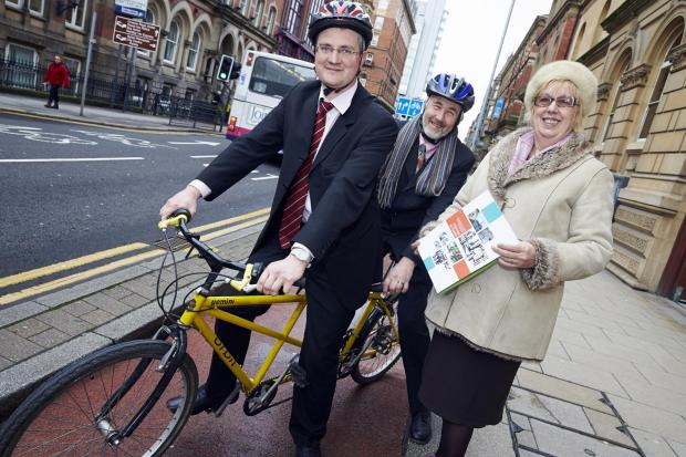Bradford Telegraph and Argus: From left, Councillor James Lewis, Councillor Richard Lewis of Leeds City Council and Councillor Val Slater mark the start of the public consultation into the cycling 'superhighway'