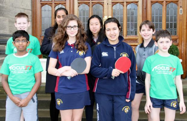 Bradford Grammar School's under-11 boys and under-16 girls' table tennis teams. Back row, from left: James Bowmer, Hibah Mahmood, Sophie Yung, Sam Young. Front row: Pranav Balabhadra, Maddy Silberberg, Hannah Chaudry, Nicholas Miller