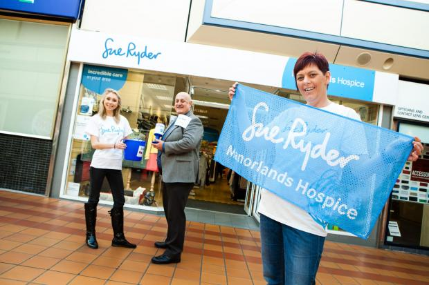 From left, Manorlands fundraiser Harriet Bevan, Airedale Shopping Centre manager Steve Seymour and Rachel Sanderson, whose late mother was cared for at the hospice