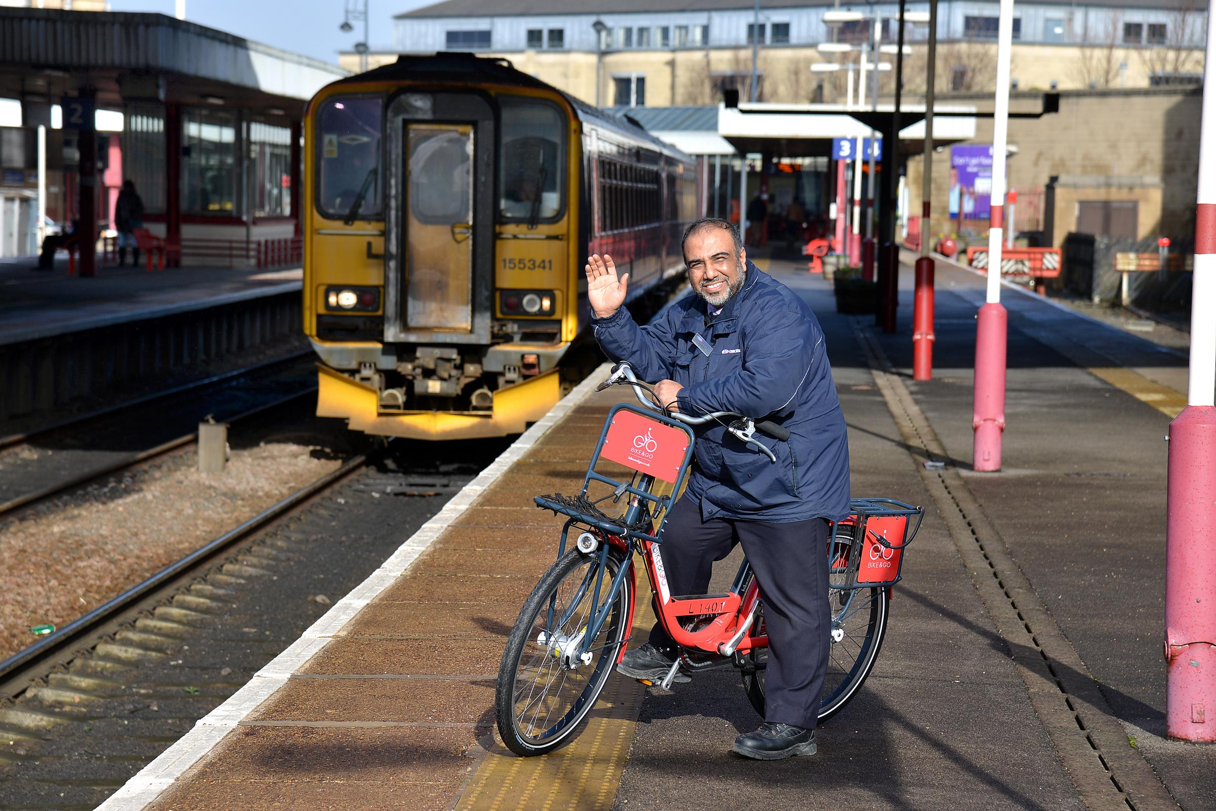 Bradford Interchange station supervisor Javid Khan tries out one of the new bikes