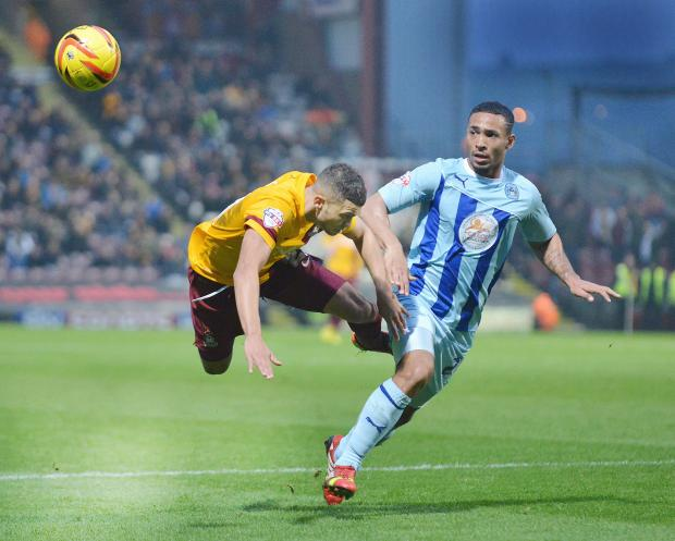 LEAD ROLE: Nahki Wells takes a tumble during City's televised thriller with Coventry. Wells was the home hero with a hat-trick but the Bantams will be looking for someone else to step up to the plate when the sides meet again