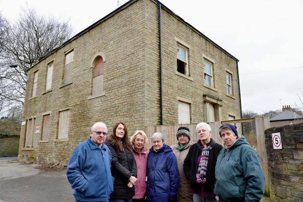 Residents and members of Heaton Township Association (from left) Ian Baxter, Susan Binns-Hall, Barbara Ball, Mary Gilmartin, Sonja McNally, Sue Brown and Deb Ball at the site of the former Fountain Inn