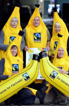 CELEBRATION: Promoting Fairtrade Fortnight are (back row) Barbara Judd and John and Mary Wood and (front) Karen Palframan and Mike de Villiers