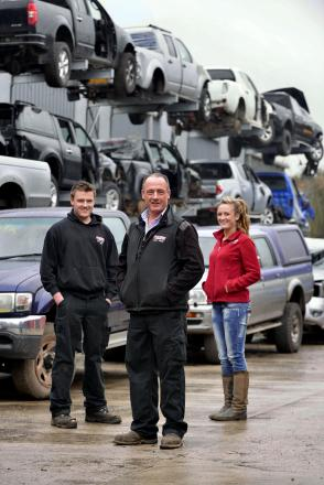 Cameron, Peter and Hollie Jones of family-run business Thornton Breakers who are donating money and silage to flooded farmers