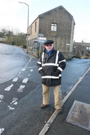 Graham Smith at junction of Shaw Lane and Hebden Bridge Road