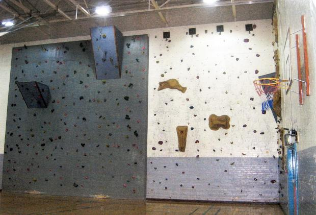 SCENE: The climbing wall at Thornton Grammar School