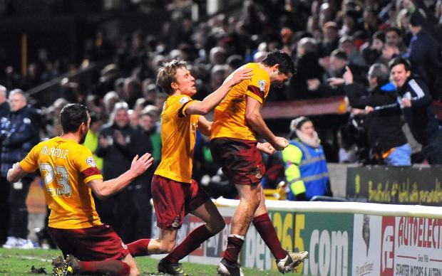 Carl McHugh celebrates his winning goal against Port Vale