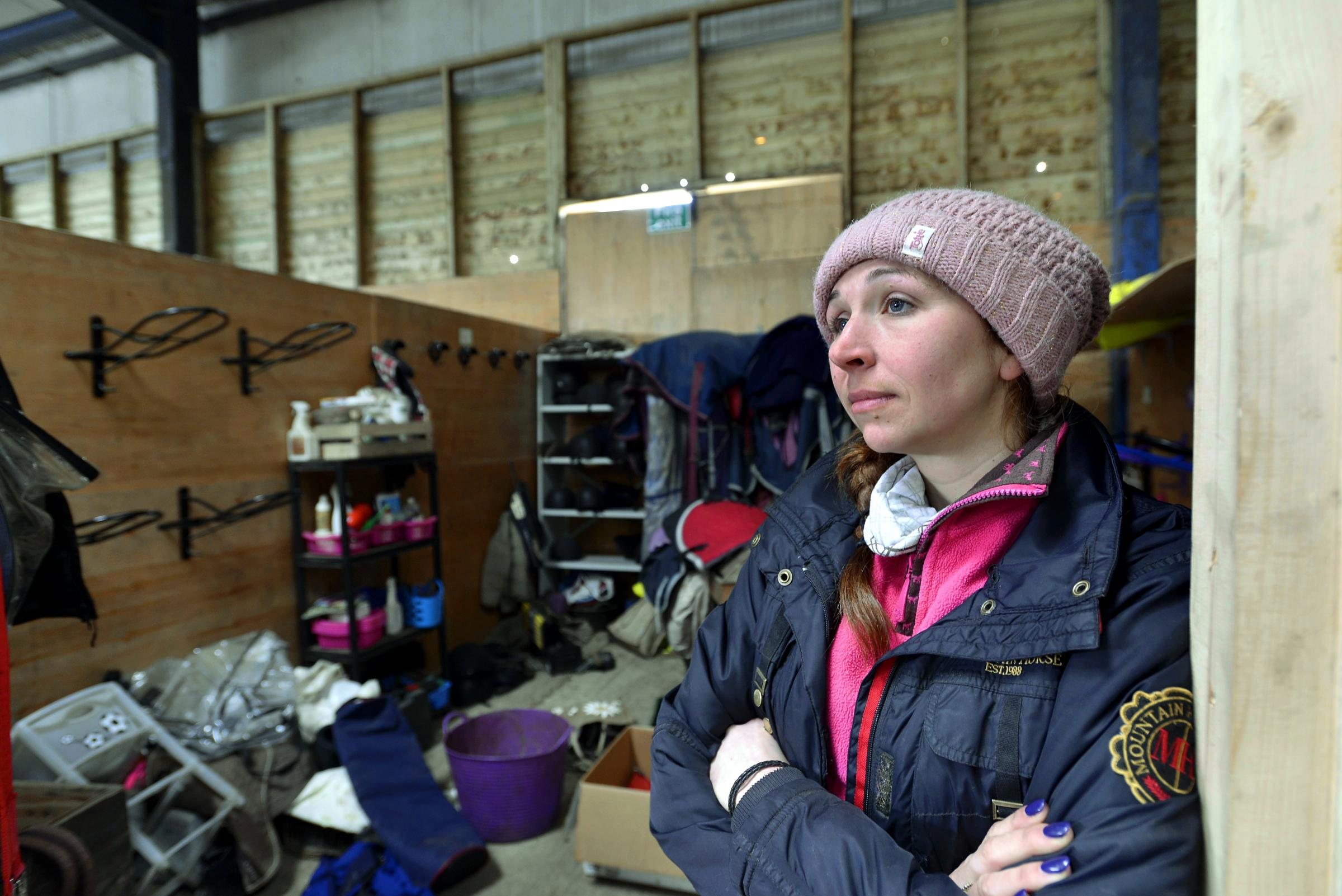 Equestrian centre owner Nicki Whaites in the empty tack room that was raided