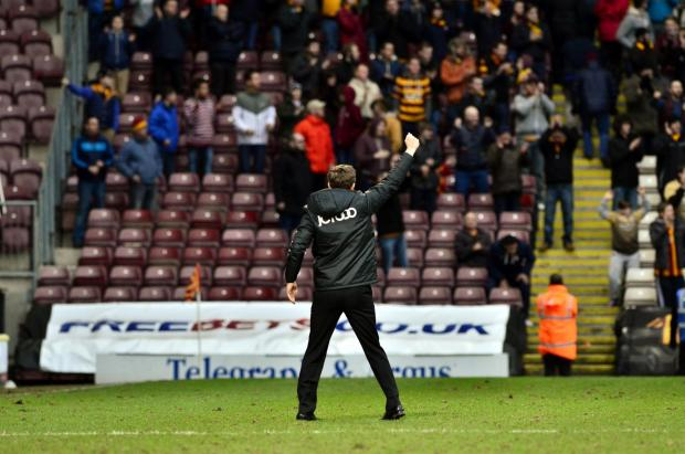 I SALUTE YOU: Phil Parkinson thanks the City fans after the 1-0 home win over MK Dons