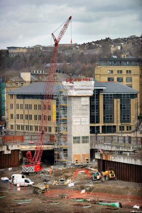 The new lift block being built on the Westfield site today