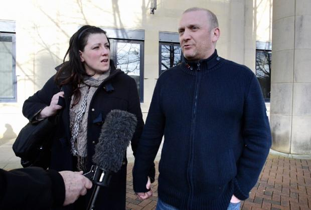 James Vaughan and his wife speaking about the case outside court yesterday