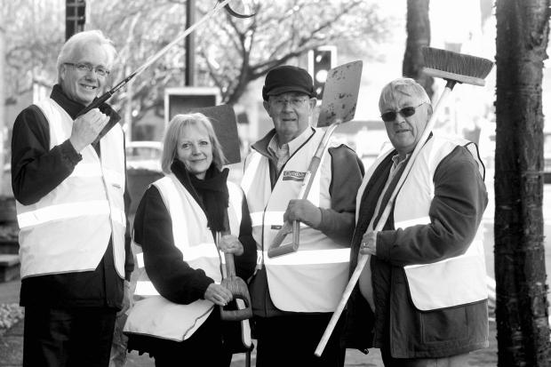 Preparing for the town clean-up are (from left) Phil Smith, Stephanie Bottomley, David Petyt and Mike Cunningham