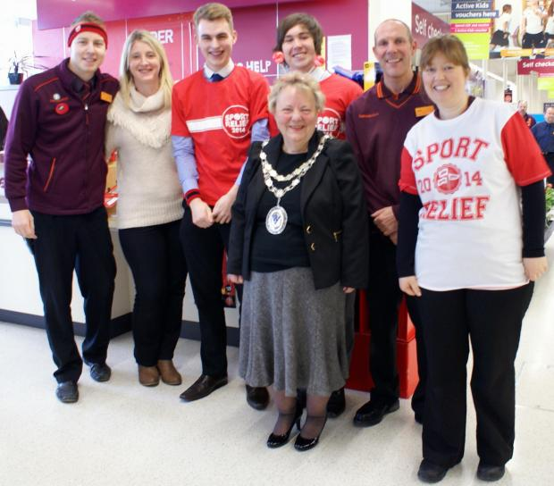 Councillor Pam Gill with Sport Relief supporters