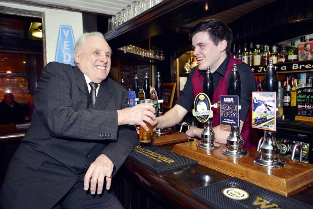 Former Lord Mayor of Bradford Robert Sowman is served by grandson Matthew Fox