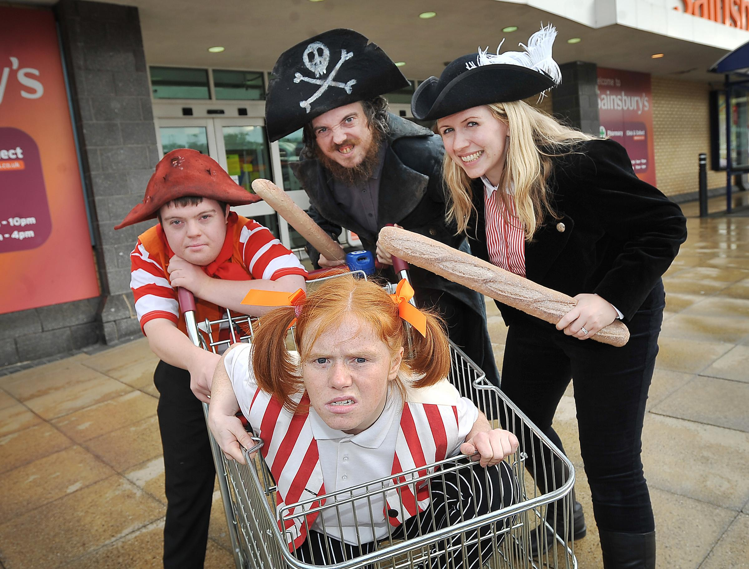 Mind The Gap actors JoAnne Haines, Gemma Ryan, Alan Clay and Liam Bairstow dress as pirates to promote a recent production of Treasure Island