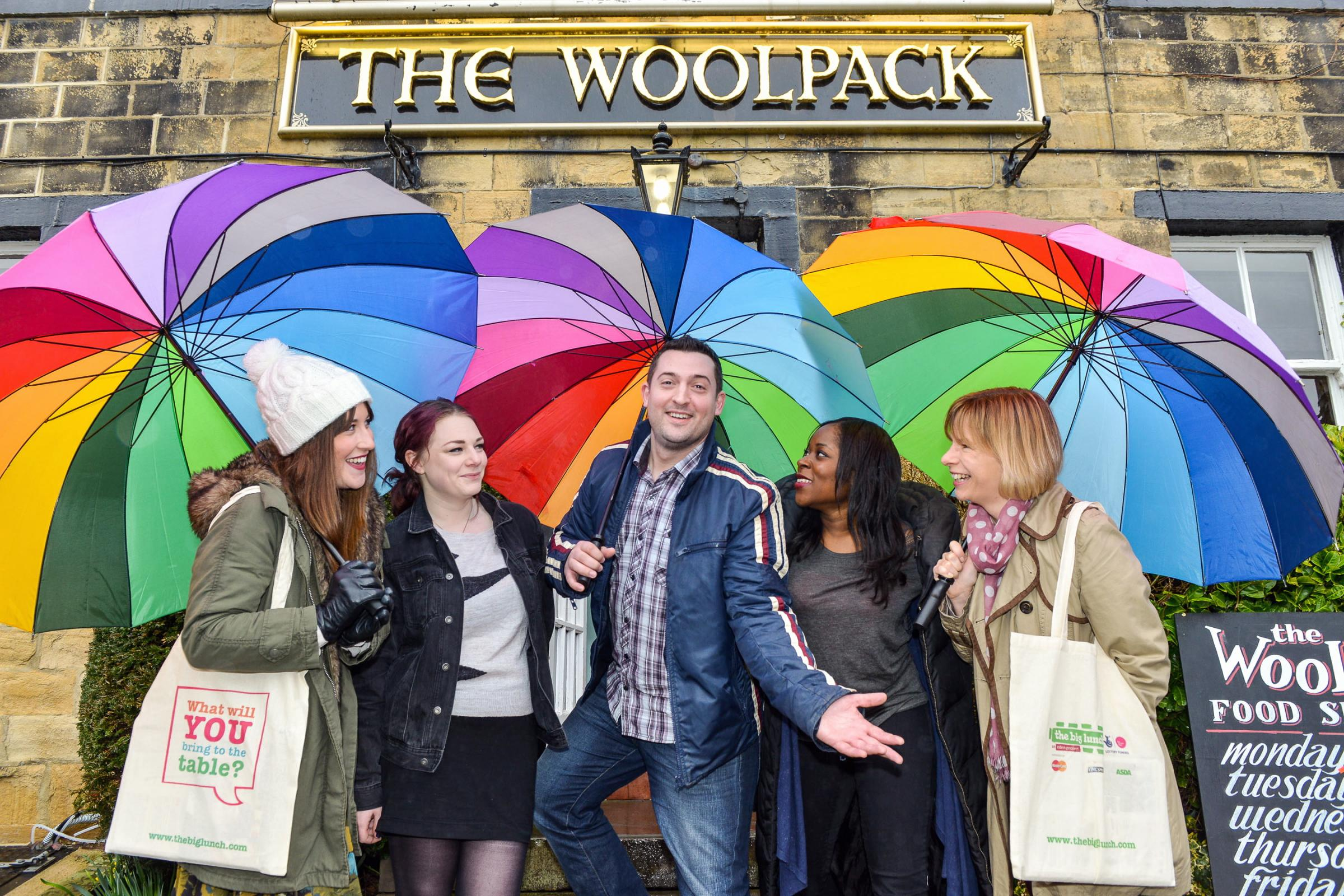 Residents and Big Lunchers from 2013 join staff at The Woolpack, Eshol