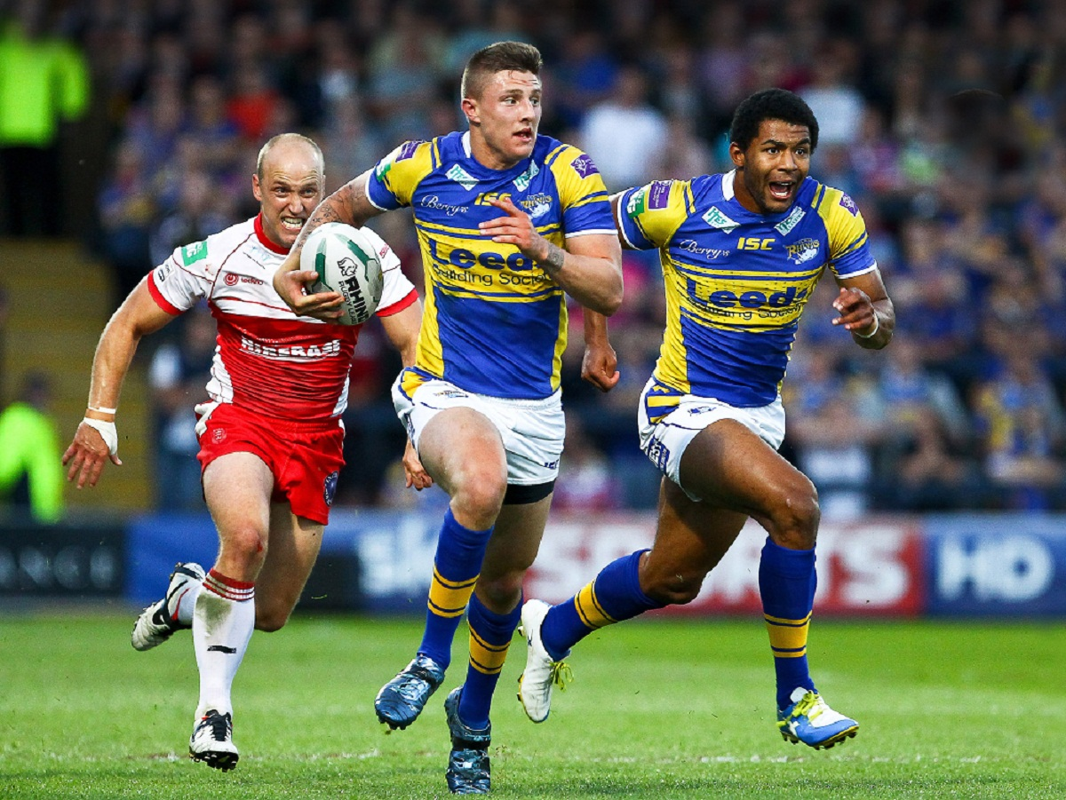 Liam Sutcliffe storms forward for the Rhinos against Hull KR during his breakthrough 2013 campaign