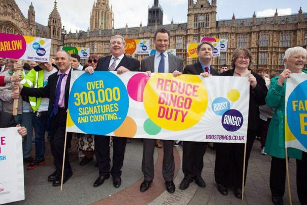 Philip Davies (third from right) with campaigners calling bingo duty to be cut from 20 to 15 per cent