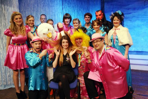 Jessica with the panto cast