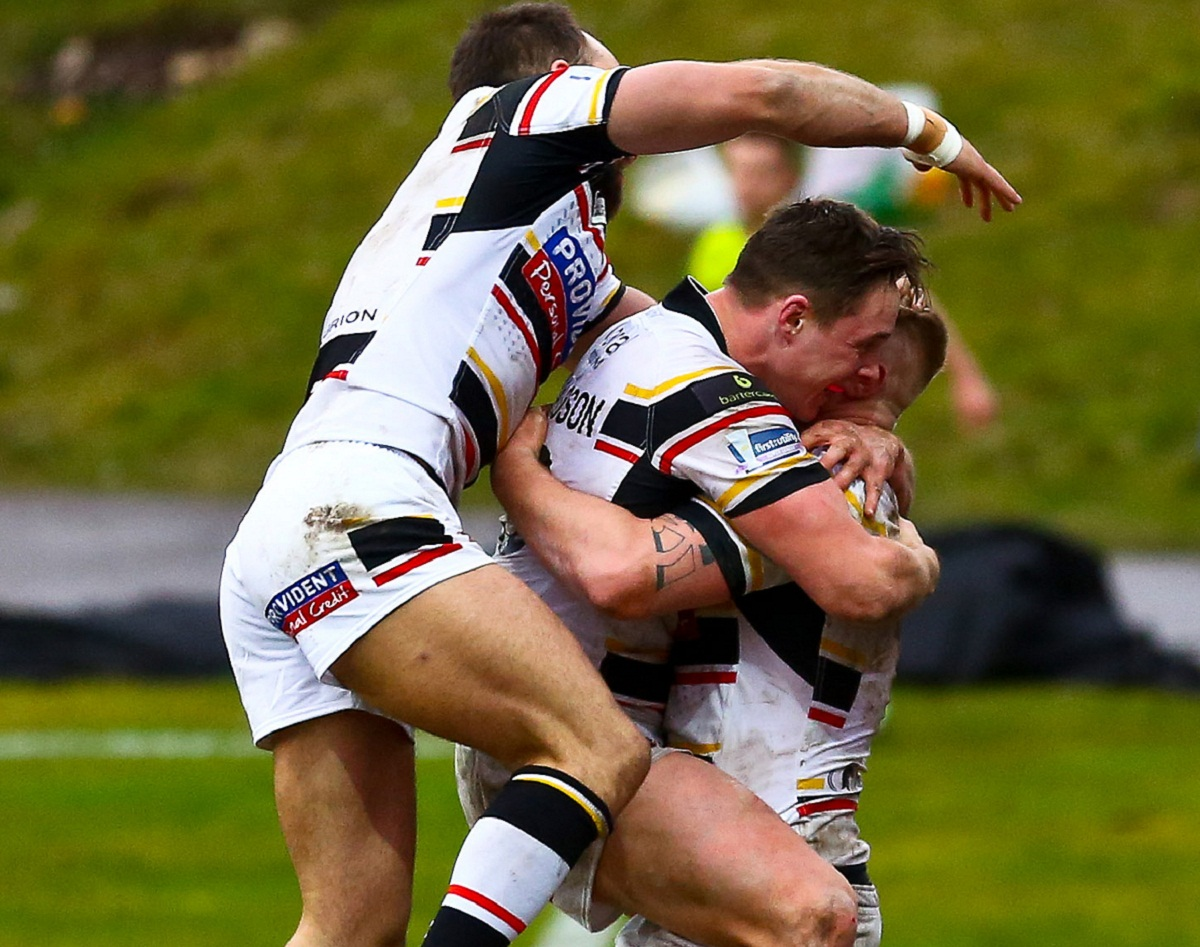 MORE OF THE SAME PLEASE: Danny Addy celebrates his try against London with the help of Luke Gale and James Donaldson as the Bulls go in search of a hat-trick of wins at Hull