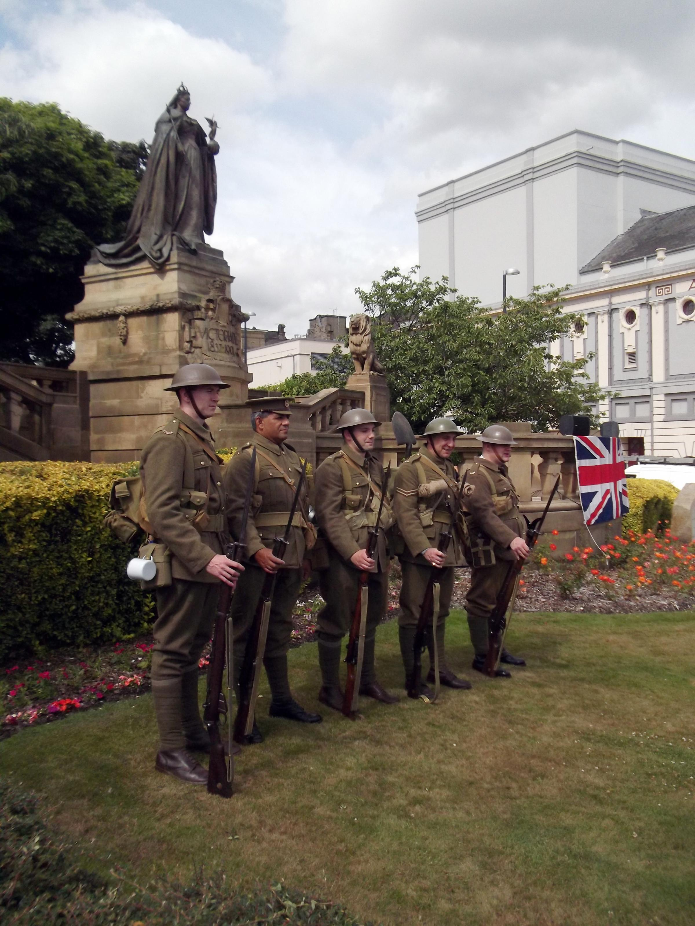 Bradford Pals re-enactment group at the Cenotaph during the 95th Somme Anniversary Commemoration of the sacrifice made by Bradford Pals