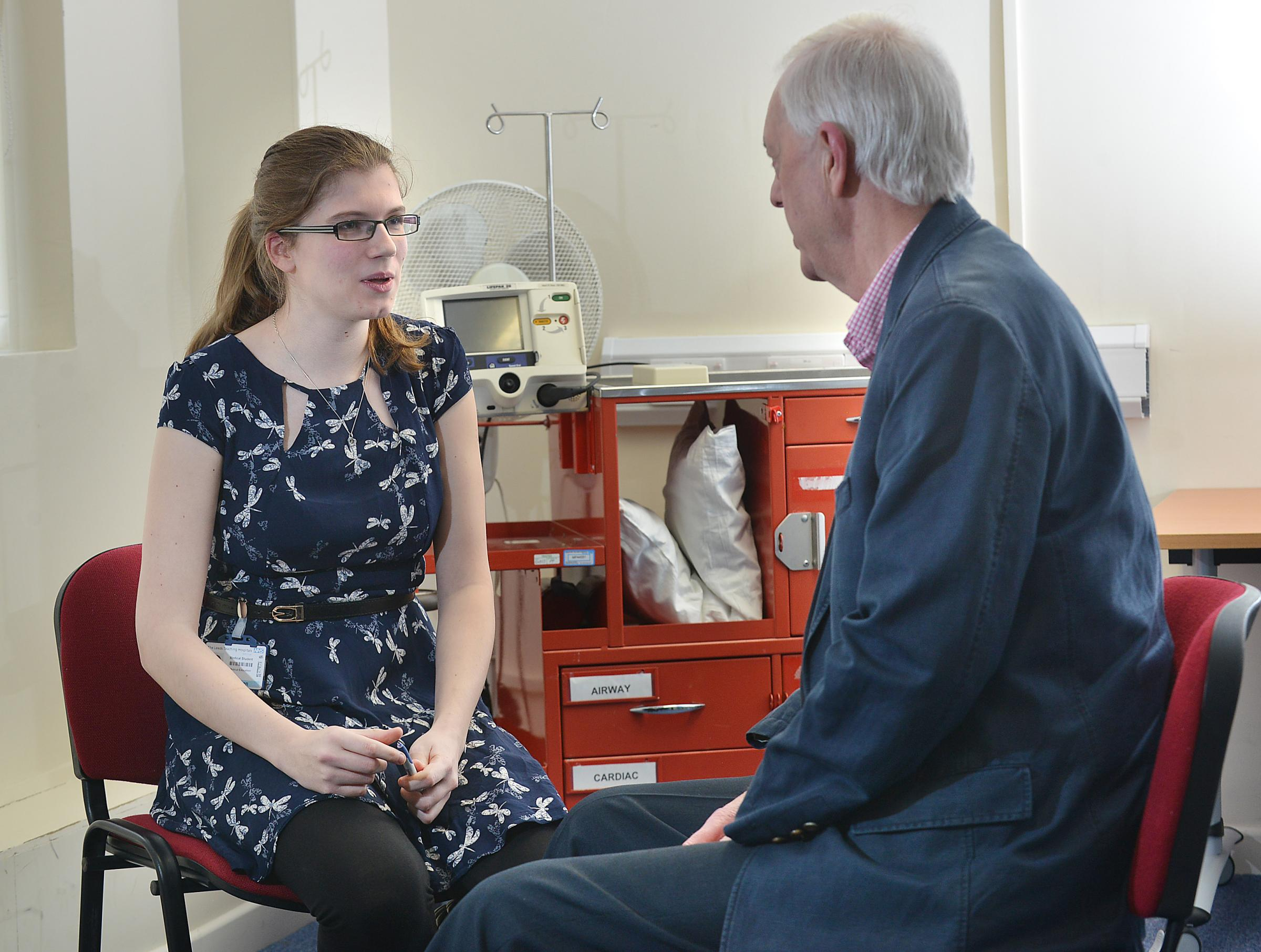 Volunteer Tony McCarrick is questioned by fifth-year trainee doctor Jenny Green