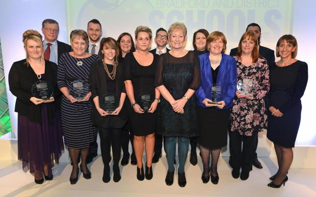 Last night's winners with (sixth from right) Kath Tunstall, retiring strategic director for children's services