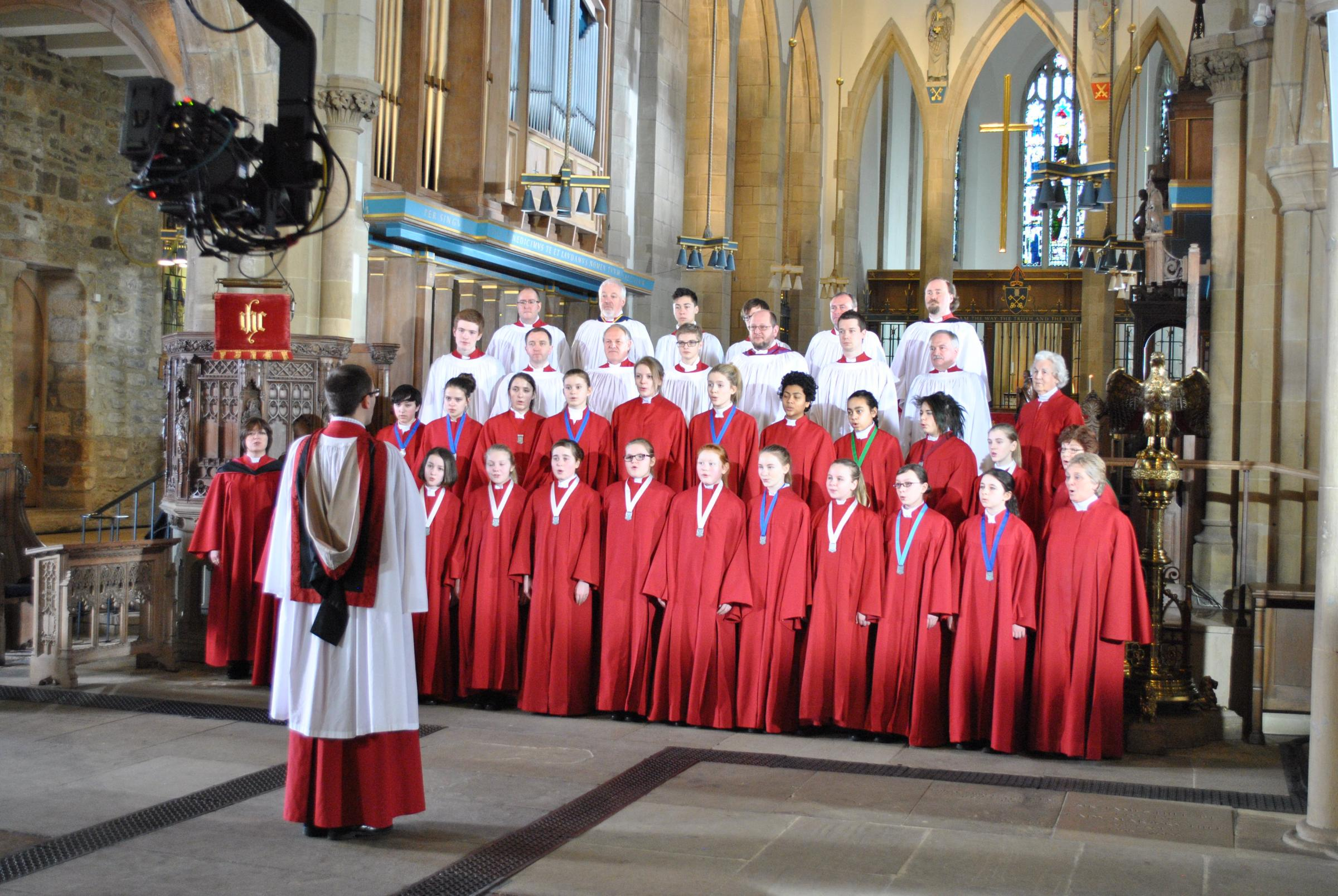 Bradford Cathedral Choir during filming of Songs Of Praise
