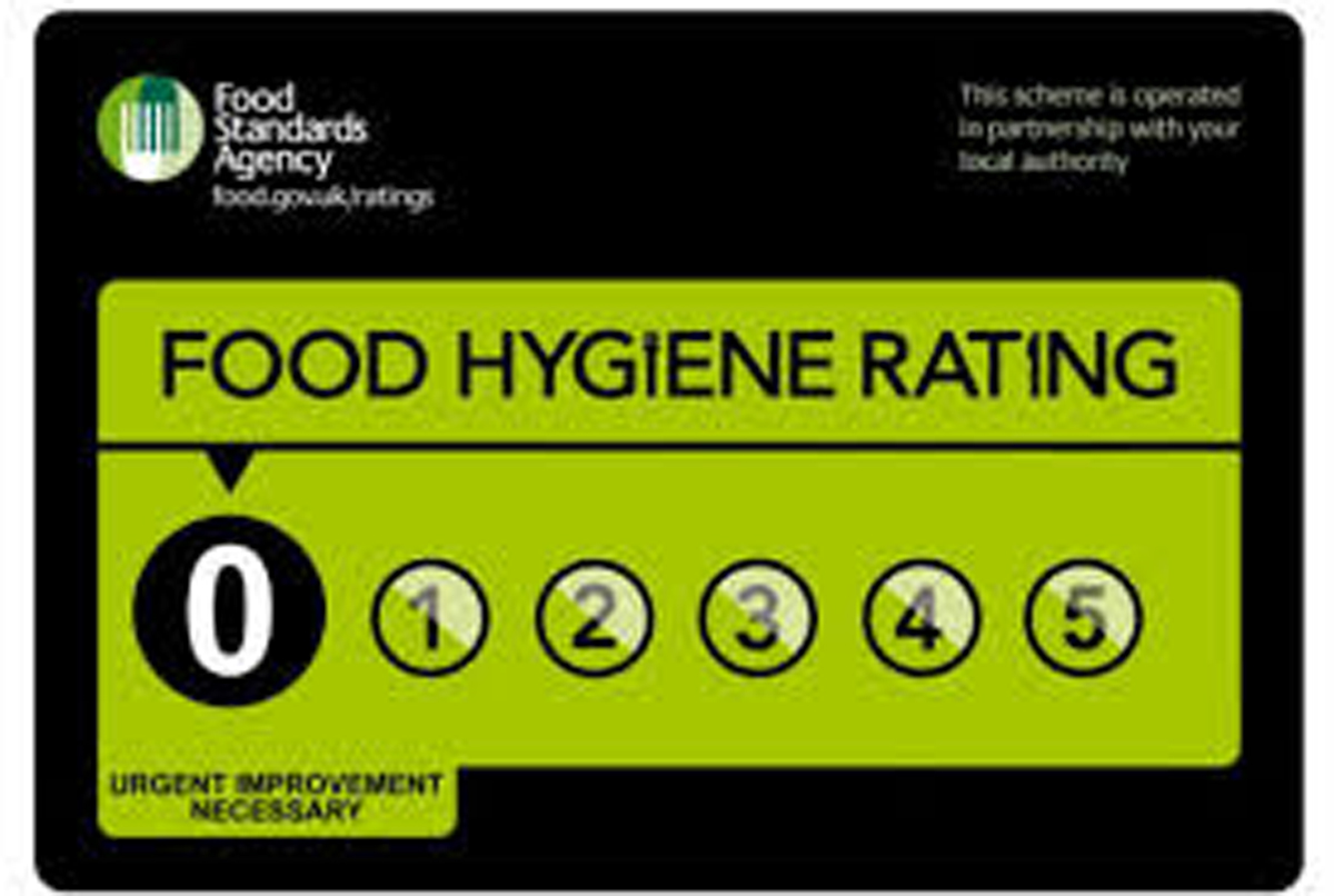 The premises that scored zero ratings for food hygiene