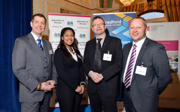 MEET: From left, Frank Clayton of NG Bailey,  apprentice Terri Schofield,  Coun Ralph Berry, and Russ McGrath, chairman of Bradford Apprenticeship Group