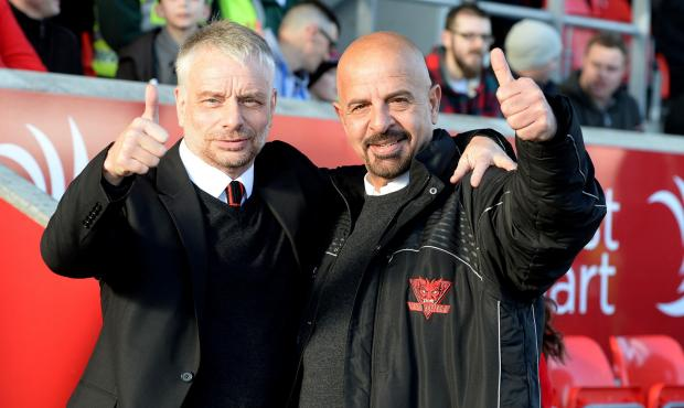 Dr Marwan Koukash, with Salford boss Brian Noble