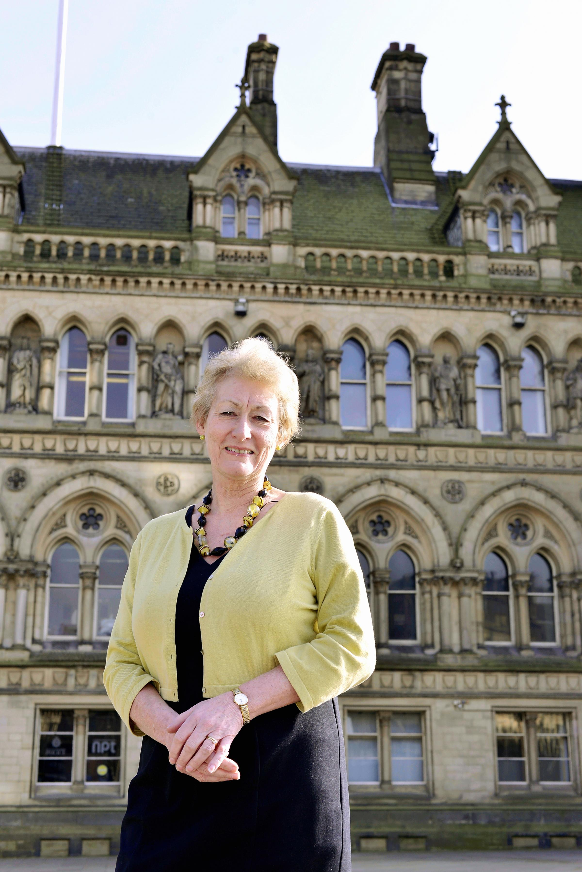 Kath Tunstall outside City Hall in Bradford